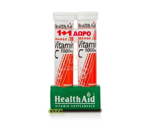 HEALTH AID Vitamin C 1000mg ( 1+1 ΔΩΡΟ )  20 eff. Tabs